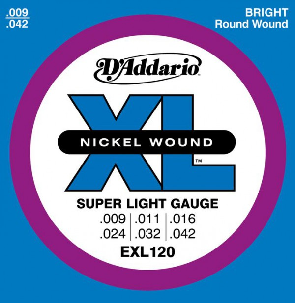 D`ADDARIO  EXL120 Nickel Wound, Super Light, 9-42