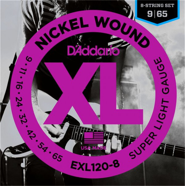 D`ADDARIO  EXL120-8 Nickel Wound, 8-String, Super Light, 9-65