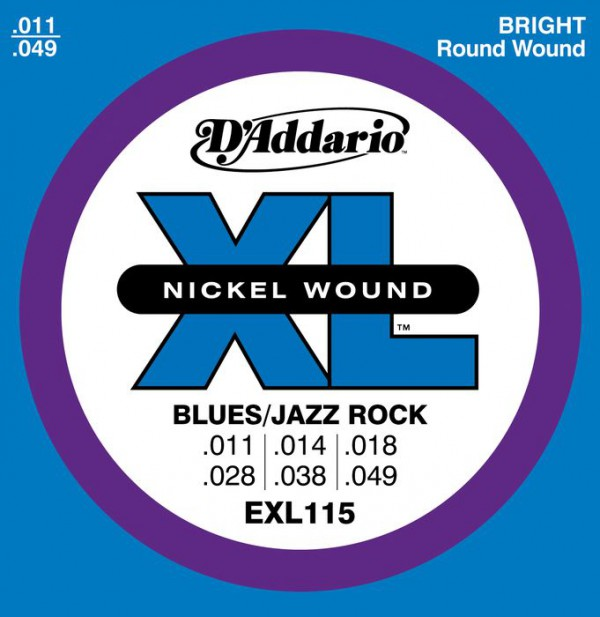 D`ADDARIO  EXL115 Nickel Wound, Medium Blues Jazz Rock,11-49