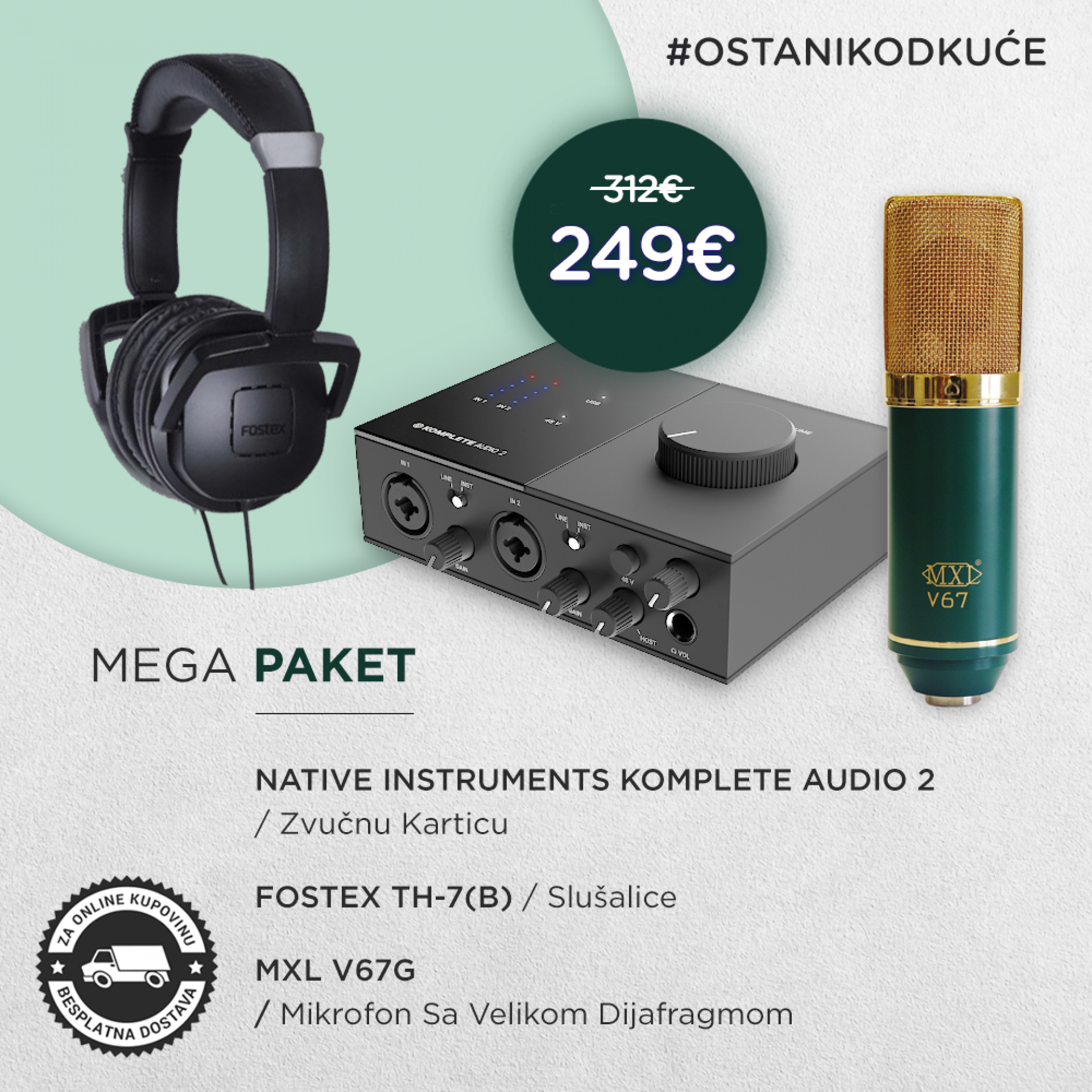 STUDIO PAKET 4 NATIVE INSTRUMENTS KOMPLETE AUDIO 2 + MXL V67G + FOSTEX TH-7
