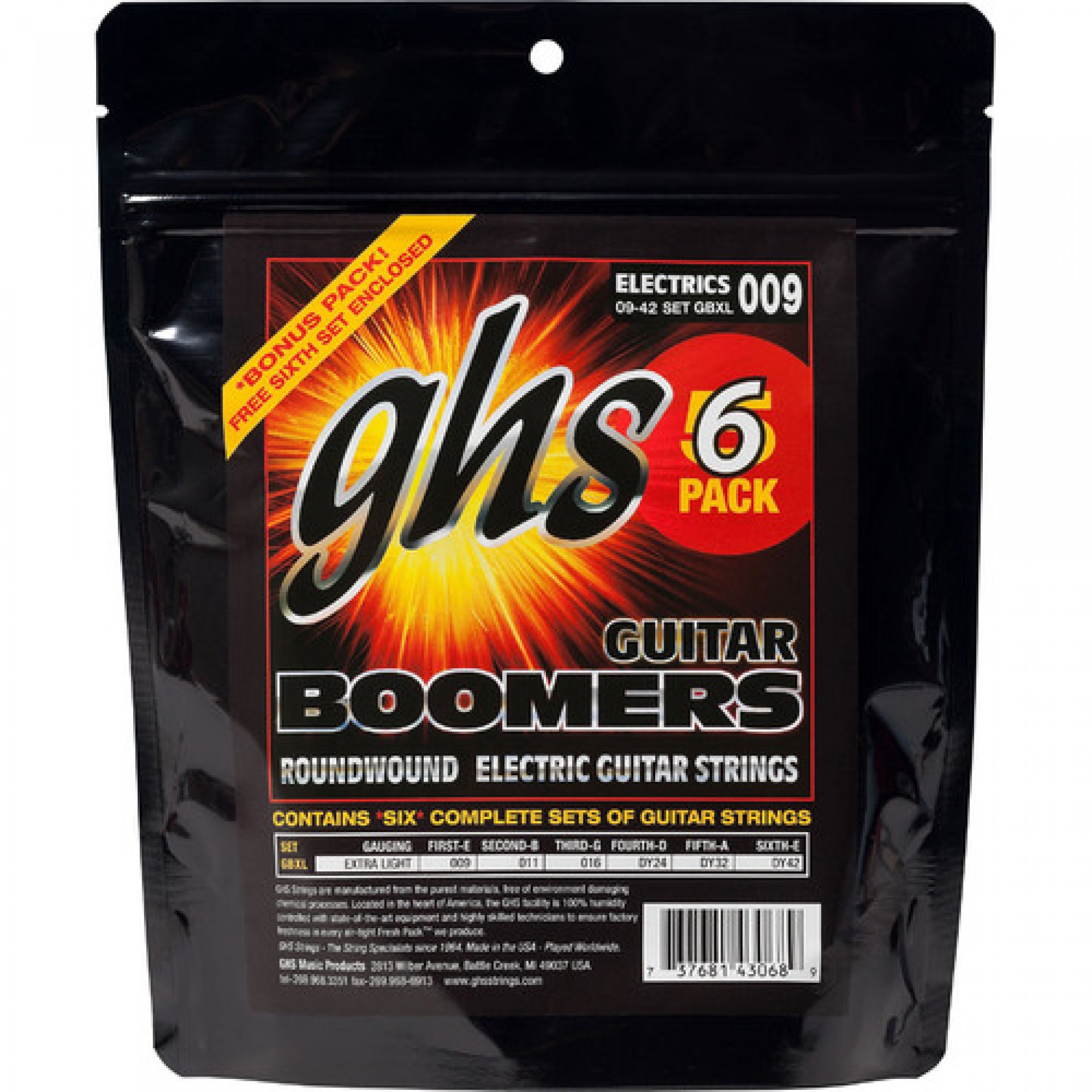 GHS GBXL-5 Extra Light Boomers Multi-Pack Roundwound Electric Guitar Strings (6-String Set, 9 - 42, 6-Pack)