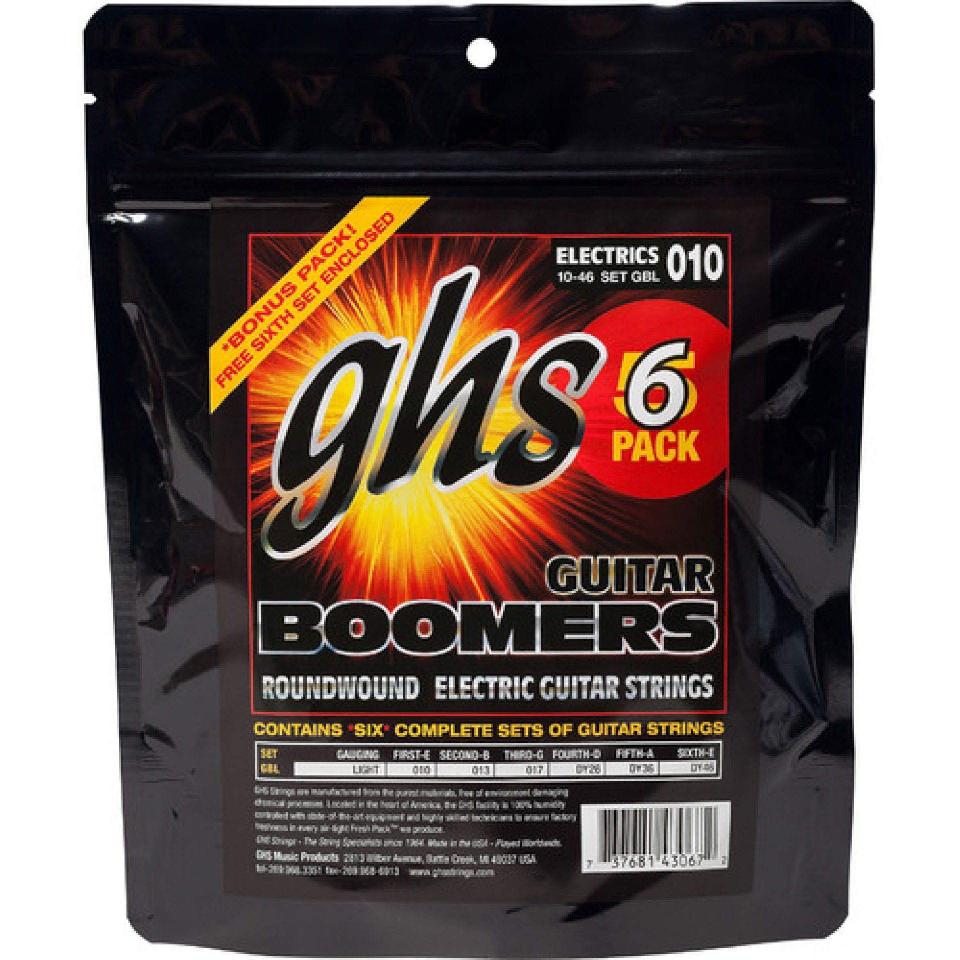 GHS GBL-5 Light Boomers Multi-Pack Roundwound Electric Guitar Strings (6-String Set, 10 - 46, 6-Pack)