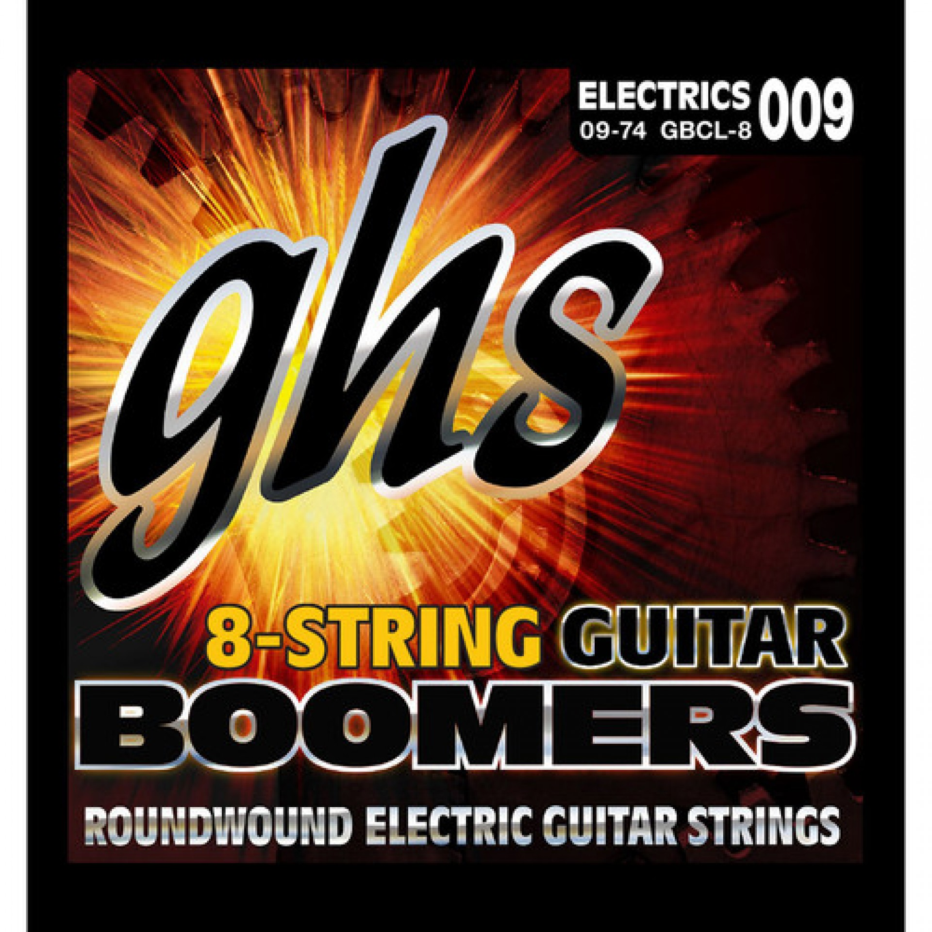 GHS GBCL-8 Boomers Custom Light Roundwound Electric Guitar Strings (8-String Set, 9 - 74)