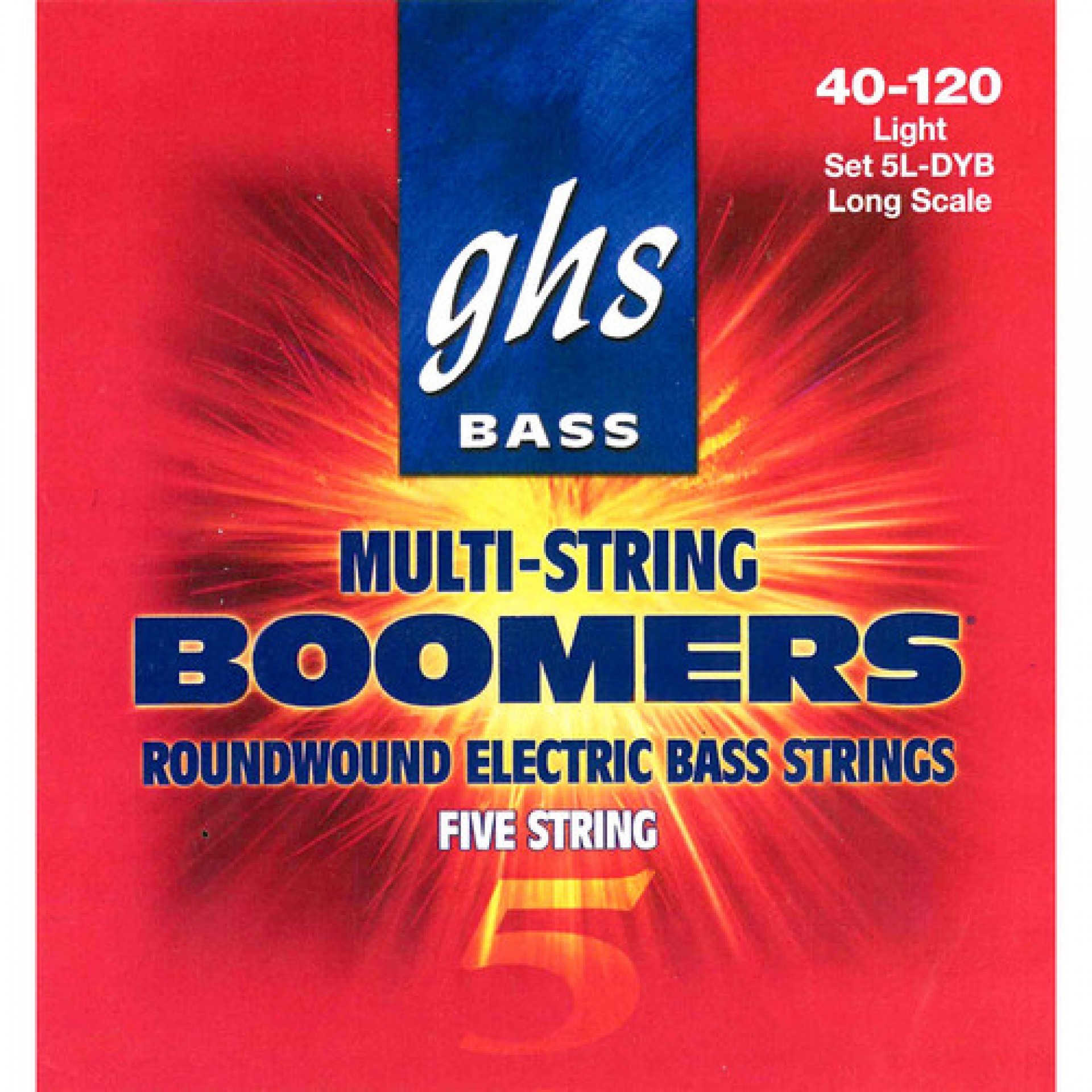GHS 5L-DYB Light Bass Boomers Roundwound Electric Bass Strings (5-String Set, Long Scale, 40 - 120)