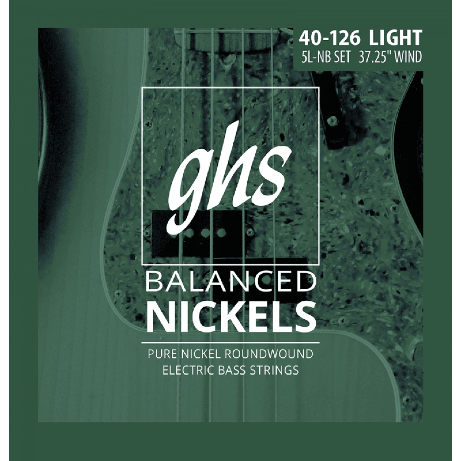 GHS 5L-NB Balanced Nickels Pure Nickel Round Wound Bass Strings Long Scale - 5-String 40-126