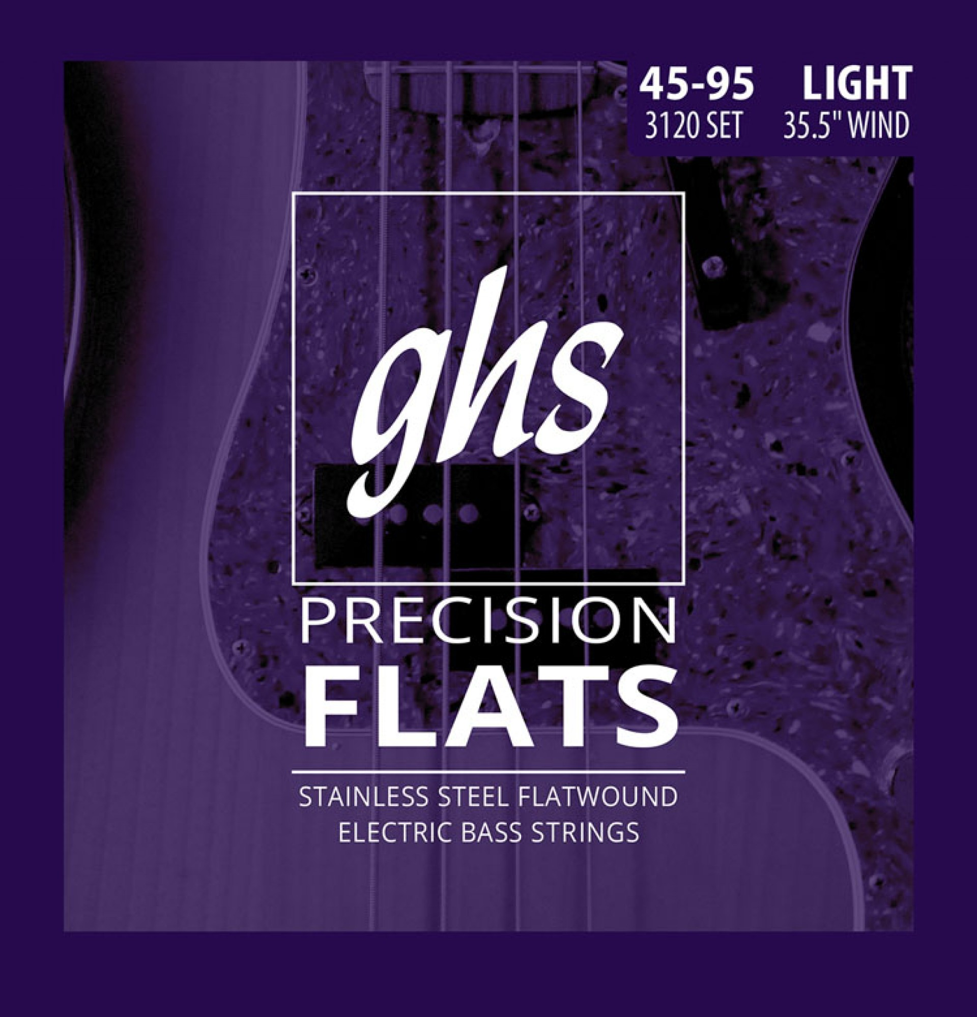 GHS 3120 Precision Flats Flatwound Bass Strings Medium Scale - 4-String 45-095 Light