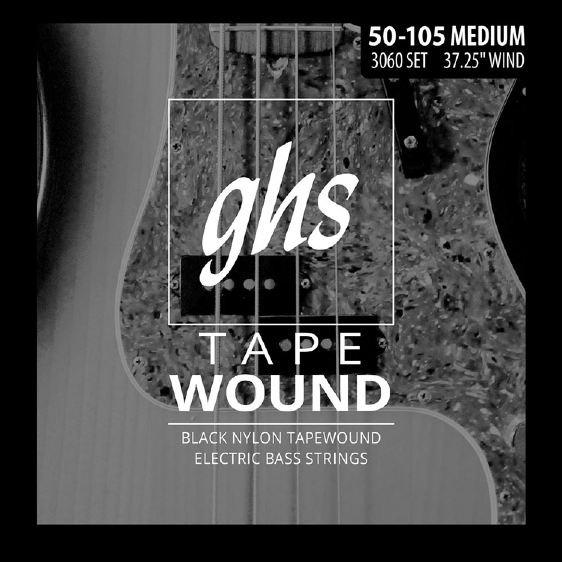 GHS 3060 Black Nylon Tapewound Bass Strings Long Scale - 4-String 50-105 Medium