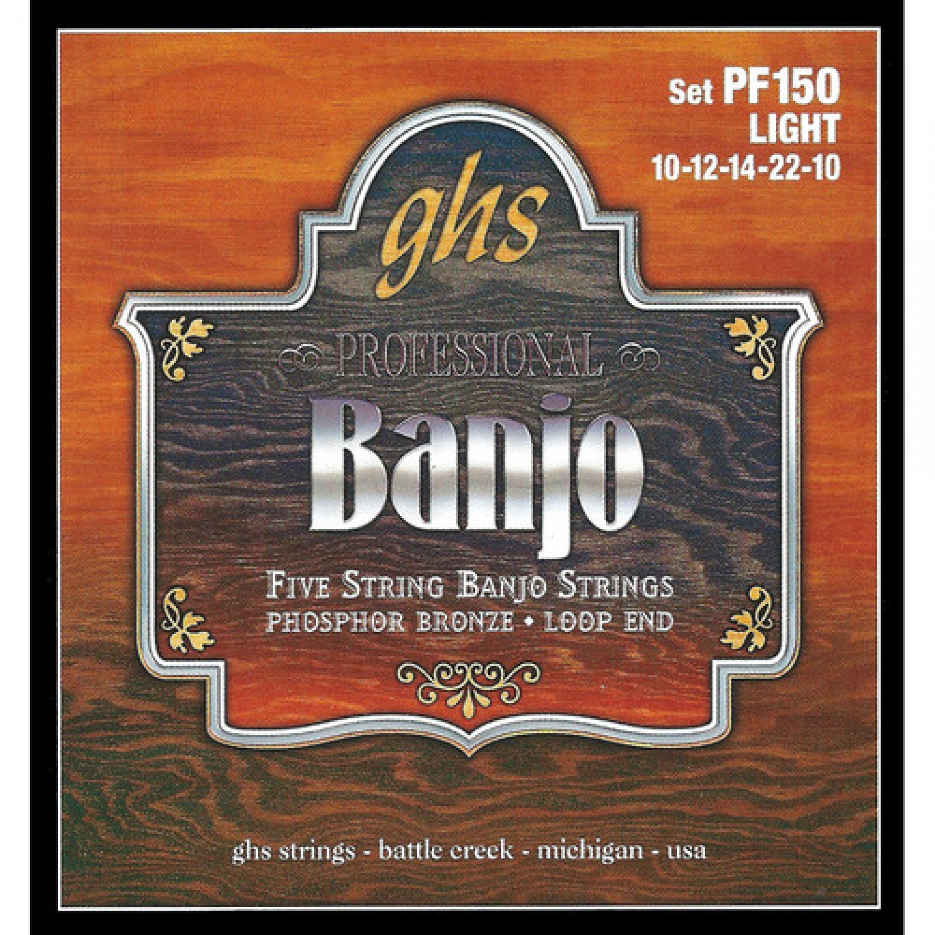 GHS PF150 Light Phosphor Bronze Banjo Strings (5-String Set, Loop End, 10 - 22)