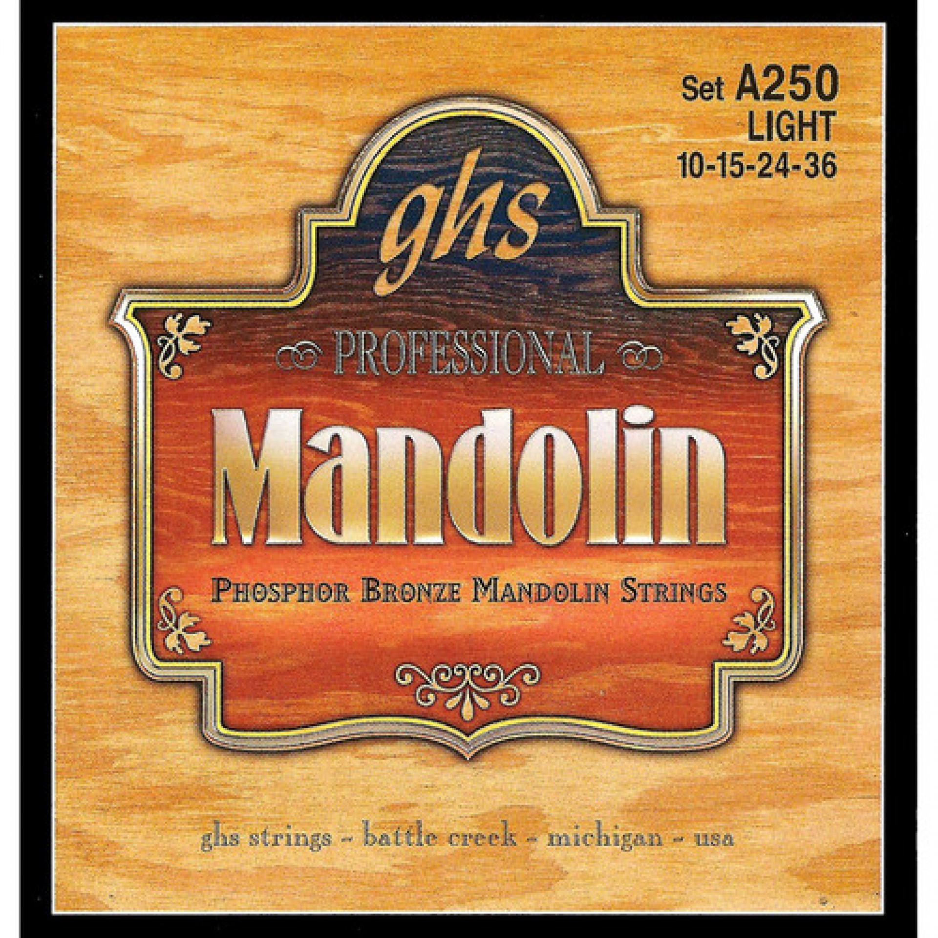 GHS A250 Light Phosphor Bronze Mandolin Strings (8-String Set, Loop End, 10 - 36)