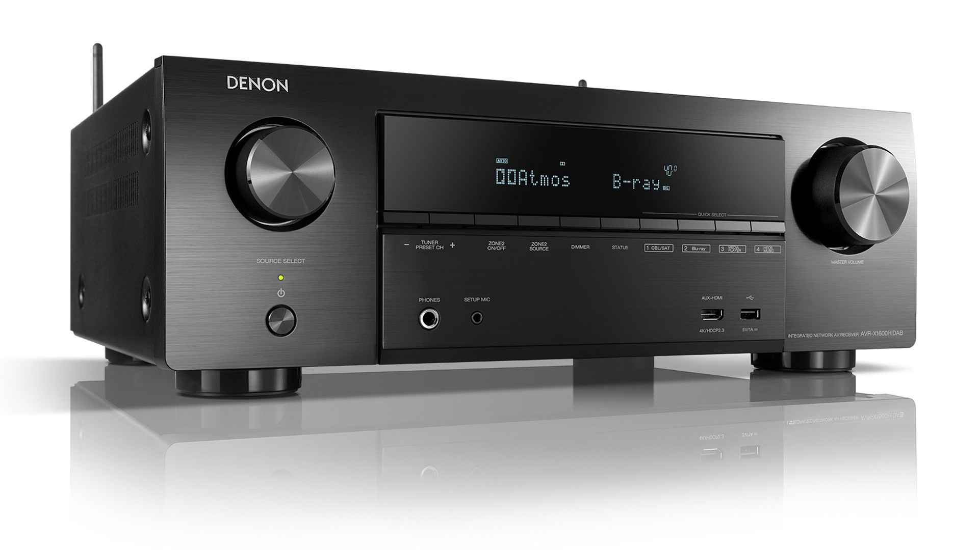 Denon AVR-X1600H DAB Black 7.2ch 4K Ultra HD AV Receiver with 3D Audio and HEOS Built-in