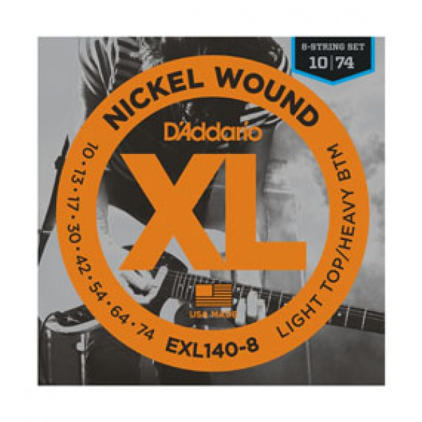 D`ADDARIO  EXL140-8 Nickel Wound, 8-String, Light Top/Heavy Bottom, 10-74