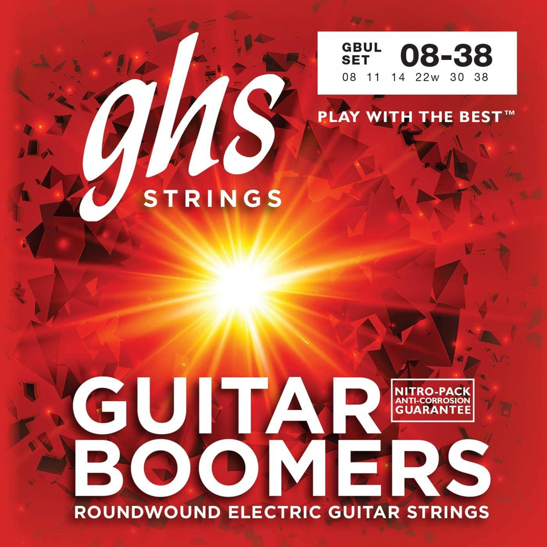 GHS GBUL Boomers Roundwound Ultra Light Electric Guitar Strings (6-String Set, 8 - 38)