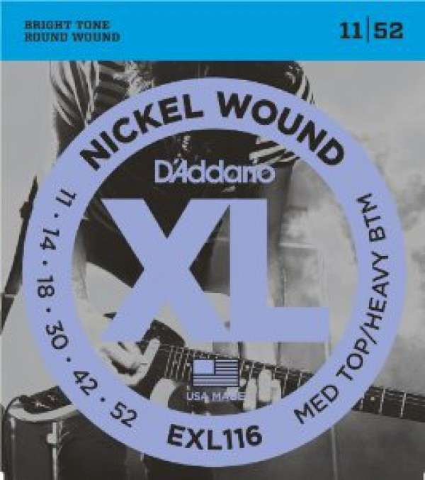 D`ADDARIO  EXL116 Nickel Wound, Medium Top/Heavy Bottom, 11-52
