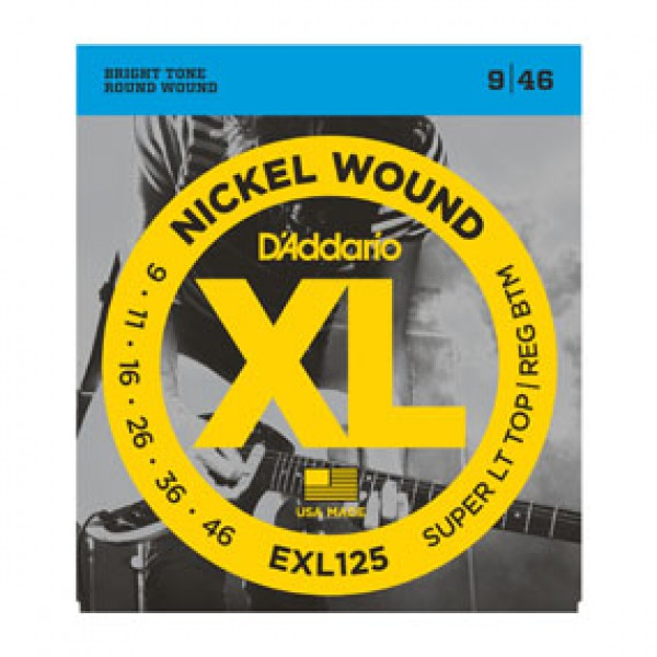 D`ADDARIO  EXL125 Nickel Wound, Super Light Top/ Regular Bottom, 9-46